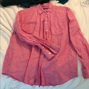 Linen blend pink/red banana republic shirt